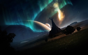Picture lights, fiction, planet, North