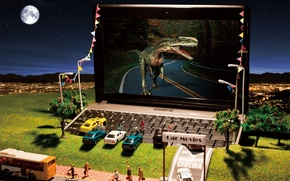 Picture machine, the city, toys, dinosaur, hill, lights, laptop, cinema, netbook, gigabyte, models, miniature