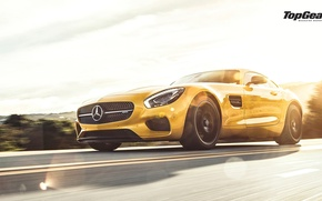 Picture Mercedes-Benz, Speed, Front, AMG, Sun, Yellow, Supercar, 2015