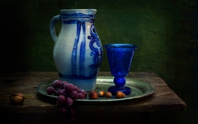 Picture glass, grapes, pitcher, nuts, still life, A Dutch influence