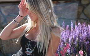 Picture look, girl, flowers, model, blonde, Paige Wyatt