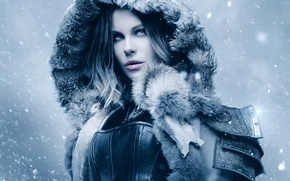 Wallpaper cinema, Kate Beckinsale, wallpaper, girl, Underworld, armor, woman, blue eyes, snow, movie, vampire, hero, film, ...