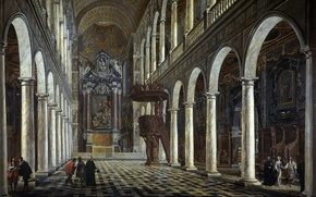 Picture interior, picture, religion, column, the nave, the pulpit, The Jesuit Church in Antwerp, Anton Günther ...