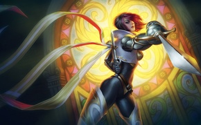 Wallpaper look, girl, tape, armor, stained glass, swords, League of Legends, LoL, attack, Fiora