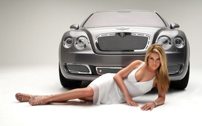 Wallpaper auto, girl, Bentley