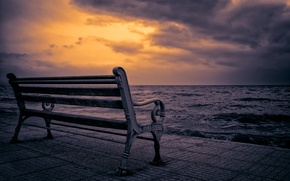 Picture sea, night, bench