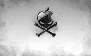 Wallpaper Jolly Roger, Piracy, Apple, Skull