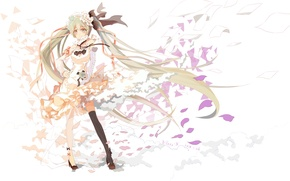 Picture girl, flowers, roses, petals, art, vocaloid, hatsune miku, heart, zerox