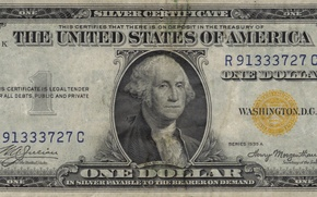 Picture yellow, Dollar, Washington, series, united states, one, united, demand