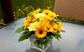 Picture flowers, bouquet, gerbera, yellow, composition, Calla lilies, dahlias