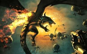 Picture flight, fire, dragon, ships, art, steampunk, in the sky, Koen Van Mierlo, Divinity: dragon commander