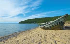 Wallpaper shore, boat, sand