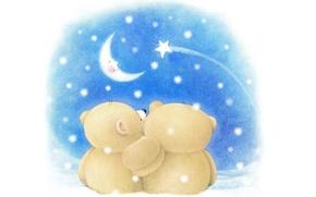 Picture winter, night, mood, the moon, romance, art, bear, pair, children's, Forever Friends Deckchair bear