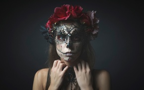 Picture flowers, portrait, makeup, mask, in