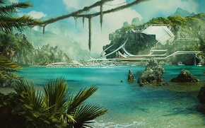 Picture mountains, rocks, waterfall, palms. water, sci fi jungle