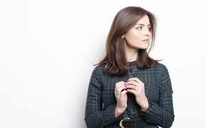 Picture brown eyes, pretty, brunette, hands, cute, actress, Jenna-Louise Coleman