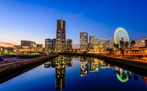 Picture reflection, Japan, mirror, horizon, channel, Ferris wheel, blue sky, Yokohama