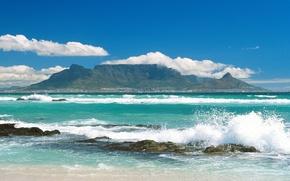Wallpaper sea, shore, mountains, the city