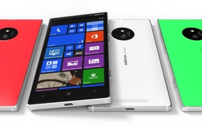 Picture Concept, Red, Green, White, Tesla, Nokia, Lumia, Smartphone, 830, Front Side, Windows Phone 8.1