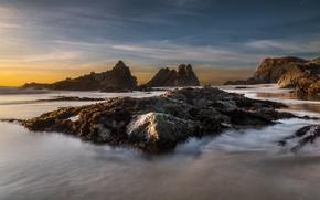 Picture sand, beach, landscape, the ocean, rocks, dawn, shore