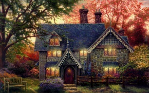 Wallpaper house, the evening, shop, painting, cottage, art, bench, the light in the Windows, Thomas Kinkade, ...