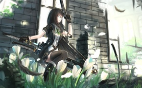 Picture girl, flowers, pose, smile, weapons, katana, feathers, art, destroyed building, kikivi