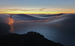 Wallpaper places, road, States, sea, lights, the evening, water, fogs, the ocean, America, road, month twilight, ...