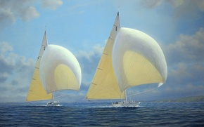 Wallpaper sea, picture, sailboats, sails, Tim Thompson, the wind, Rainbow and Ranger