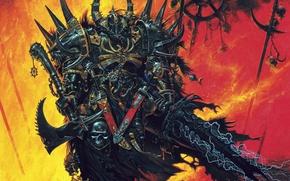 Picture sword, armor, Chaos, warrior, axe, Fantasy, warhammer, corpses, Battles, champion, Khorne