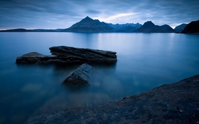Picture the sky, mountains, night, lake, Scotland, UK, blue, sky, blue, night, mountains, lake, Scotland, Great ...