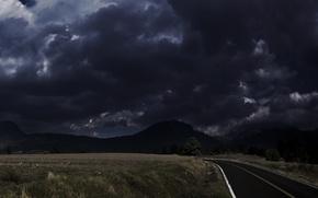 Wallpaper 156, field, road, darkness, sadness, clouds