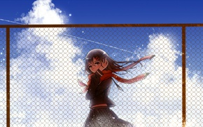 Picture the sky, girl, clouds, the fence, anime, scarf, art, kagerou project, ayano tateyama, Mekakucity Actors, …