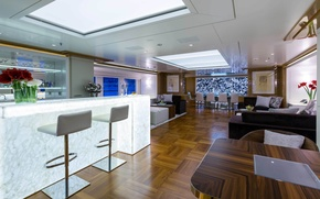 Picture design, style, interior, saloon, living area, luxury motor yacht Galaxy