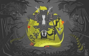 Picture feathers, wings, shaman, magic, trees, skull, tail, snakes, staff, mask, branches, jungle
