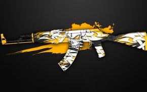 Picture graffiti, skull, AK-47, paint, workshop, cs go, creep, custom paint job