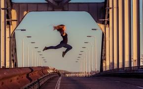 Picture girl, bridge, jump