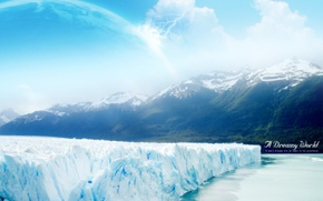 Picture ice, mountains, Dreamy World