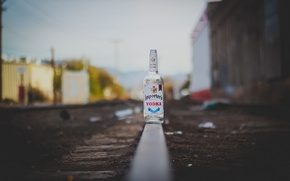 Picture railroad, vodka, bokeh, power line