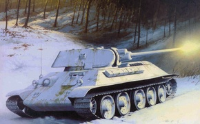 Picture winter, white, snow, trees, flash, shot, art, tank, camouflage, Soviet, average, period, T-34-76, The great …