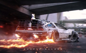 Picture flame, silver, fire, road, DeLorean, DMC-12, rear, photoshop, Digital art, silvery, the DeLorean, Back to …