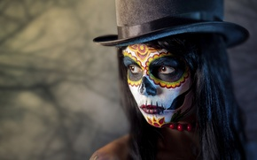 Picture girl, face, paint, day of the dead, day of the dead