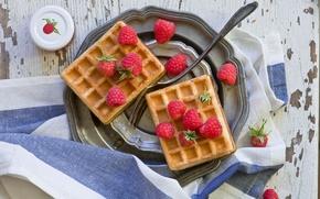 Picture berries, raspberry, towel, plug, waffles