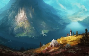 Picture landscape, lake, beauty, art, painting