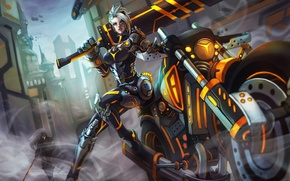 Picture sword, costume, motorcycle, bike, lol, League of Legends, riven