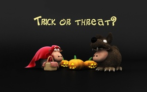Wallpaper holiday, wolf, pumpkin, Halloween, Halloween, sheep