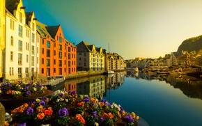 Picture building, Norway, channel, Norway, Ålesund, Alesund, Aalesund, More and Romsdal, Brosundet, flower beds