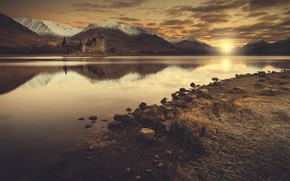 Picture sunset, mountains, river, stones, castle, shore, the evening, romantic, Wallpaper from lolita777