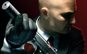 Picture weapons, bald, tie, gloves, jacket, muffler, Agent 47, Silver baller, Hitman: Absolution, forty-seventh, assassin