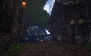 Wallpaper the darkness, gate, tree, street, house, Minecraft, lantern, grass