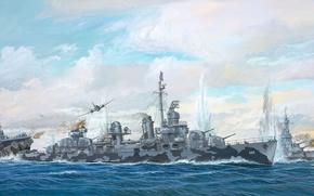 Picture ship, art, Navy, the battle, American, military, destroyer, USS, WW2, destroyer, Fletcher